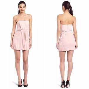BCBGeneration Pink Multi Pleated Strapless Dress